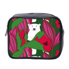 Animals White Bear Flower Floral Red Green Mini Toiletries Bag 2 Side by Mariart