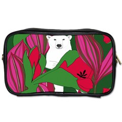 Animals White Bear Flower Floral Red Green Toiletries Bags 2 Side by Mariart