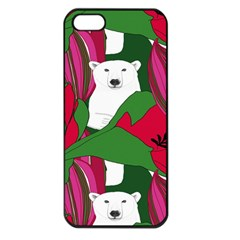 Animals White Bear Flower Floral Red Green Apple Iphone 5 Seamless Case (black) by Mariart