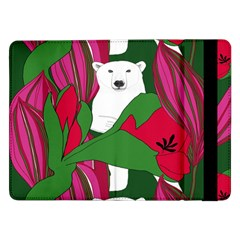 Animals White Bear Flower Floral Red Green Samsung Galaxy Tab Pro 12 2  Flip Case by Mariart