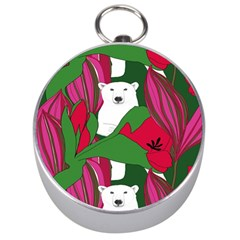 Animals White Bear Flower Floral Red Green Silver Compasses by Mariart
