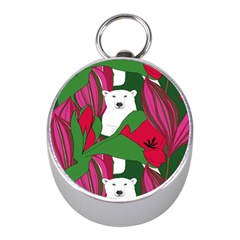 Animals White Bear Flower Floral Red Green Mini Silver Compasses by Mariart