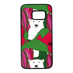 Animals White Bear Flower Floral Red Green Samsung Galaxy S7 Black Seamless Case by Mariart