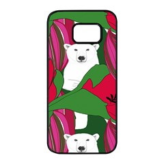 Animals White Bear Flower Floral Red Green Samsung Galaxy S7 Edge Black Seamless Case by Mariart