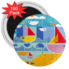 Boats Ship Sea Beach 3  Magnets (100 Pack) by Mariart