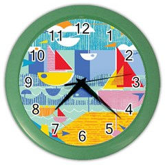 Boats Ship Sea Beach Color Wall Clocks