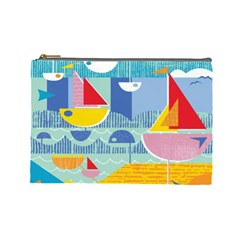 Boats Ship Sea Beach Cosmetic Bag (large)  by Mariart