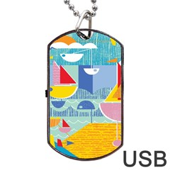 Boats Ship Sea Beach Dog Tag Usb Flash (one Side) by Mariart