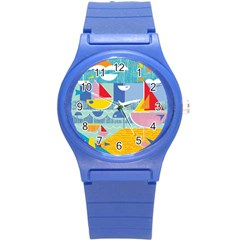 Boats Ship Sea Beach Round Plastic Sport Watch (s) by Mariart