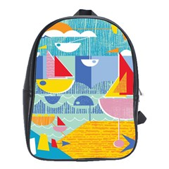 Boats Ship Sea Beach School Bags (xl)  by Mariart