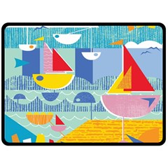 Boats Ship Sea Beach Double Sided Fleece Blanket (large)