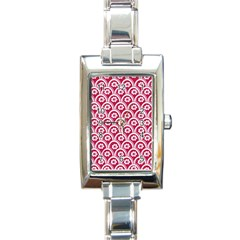 Botanical Gardens Sunflower Red White Circle Rectangle Italian Charm Watch