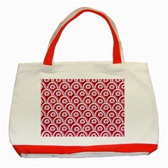 Botanical Gardens Sunflower Red White Circle Classic Tote Bag (red) by Mariart
