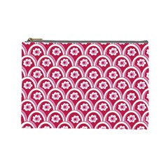 Botanical Gardens Sunflower Red White Circle Cosmetic Bag (large)  by Mariart