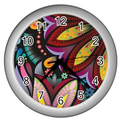 Flower Floral Sunflower Rose Color Rainbow Circle Polka Wall Clocks (silver)  by Mariart