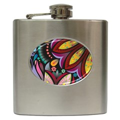Flower Floral Sunflower Rose Color Rainbow Circle Polka Hip Flask (6 Oz) by Mariart