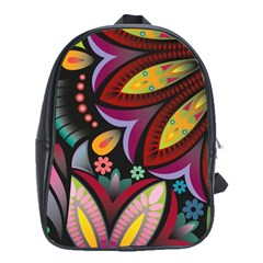 Flower Floral Sunflower Rose Color Rainbow Circle Polka School Bags(large)  by Mariart