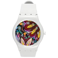 Flower Floral Sunflower Rose Color Rainbow Circle Polka Round Plastic Sport Watch (m) by Mariart