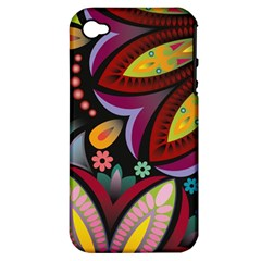 Flower Floral Sunflower Rose Color Rainbow Circle Polka Apple Iphone 4/4s Hardshell Case (pc+silicone) by Mariart