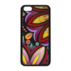 Flower Floral Sunflower Rose Color Rainbow Circle Polka Apple Iphone 5c Seamless Case (black) by Mariart