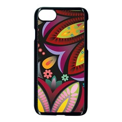Flower Floral Sunflower Rose Color Rainbow Circle Polka Apple Iphone 7 Seamless Case (black)