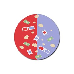 Glasses Red Blue Green Cloud Line Cart Rubber Coaster (round)  by Mariart
