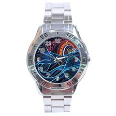 Fish Out Of Water Monster Space Rainbow Circle Polka Line Wave Chevron Star Stainless Steel Analogue Watch by Mariart