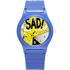 Have Meant  Tech Science Future Sad Yellow Street Round Plastic Sport Watch (s) by Mariart