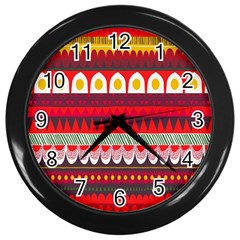 Fabric Aztec Red Line Polka Circle Wave Chevron Star Wall Clocks (black)