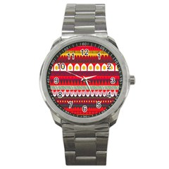 Fabric Aztec Red Line Polka Circle Wave Chevron Star Sport Metal Watch by Mariart