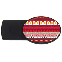 Fabric Aztec Red Line Polka Circle Wave Chevron Star Usb Flash Drive Oval (4 Gb) by Mariart