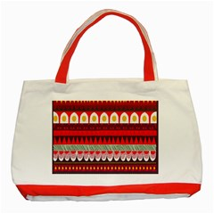 Fabric Aztec Red Line Polka Circle Wave Chevron Star Classic Tote Bag (red) by Mariart