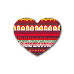 Fabric Aztec Red Line Polka Circle Wave Chevron Star Rubber Coaster (heart)  by Mariart