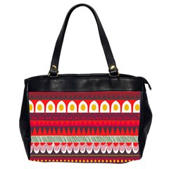 Fabric Aztec Red Line Polka Circle Wave Chevron Star Office Handbags (2 Sides)