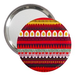 Fabric Aztec Red Line Polka Circle Wave Chevron Star 3  Handbag Mirrors by Mariart