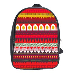 Fabric Aztec Red Line Polka Circle Wave Chevron Star School Bags (xl)  by Mariart