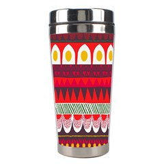 Fabric Aztec Red Line Polka Circle Wave Chevron Star Stainless Steel Travel Tumblers by Mariart