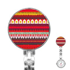 Fabric Aztec Red Line Polka Circle Wave Chevron Star Stainless Steel Nurses Watch