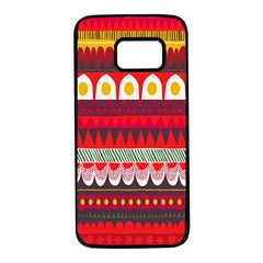 Fabric Aztec Red Line Polka Circle Wave Chevron Star Samsung Galaxy S7 Black Seamless Case by Mariart