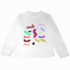 Plushie Color Rainbow Brown Purple Yellow Green Black Kids Long Sleeve T Shirts by Mariart