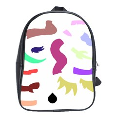 Plushie Color Rainbow Brown Purple Yellow Green Black School Bags(large)
