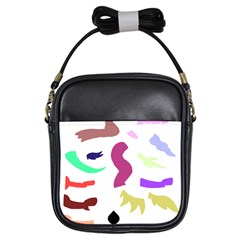 Plushie Color Rainbow Brown Purple Yellow Green Black Girls Sling Bags