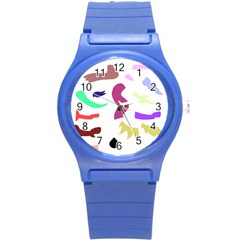 Plushie Color Rainbow Brown Purple Yellow Green Black Round Plastic Sport Watch (s) by Mariart
