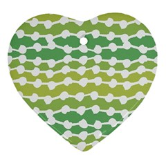 Polkadot Polka Circle Round Line Wave Chevron Waves Green White Ornament (heart) by Mariart