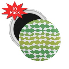 Polkadot Polka Circle Round Line Wave Chevron Waves Green White 2 25  Magnets (10 Pack)