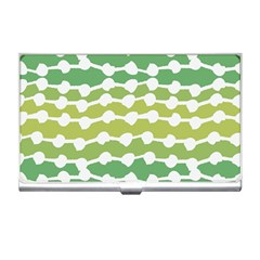 Polkadot Polka Circle Round Line Wave Chevron Waves Green White Business Card Holders by Mariart