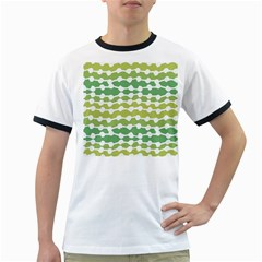 Polkadot Polka Circle Round Line Wave Chevron Waves Green White Ringer T Shirts by Mariart