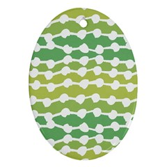 Polkadot Polka Circle Round Line Wave Chevron Waves Green White Oval Ornament (two Sides) by Mariart
