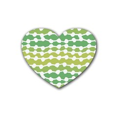 Polkadot Polka Circle Round Line Wave Chevron Waves Green White Heart Coaster (4 Pack)  by Mariart