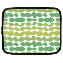 Polkadot Polka Circle Round Line Wave Chevron Waves Green White Netbook Case (xl)  by Mariart